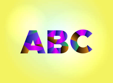 The letters ABC concept written in colorful fragmented word are on a bright background illustration. Vector EPS 10 available. Illusztráció
