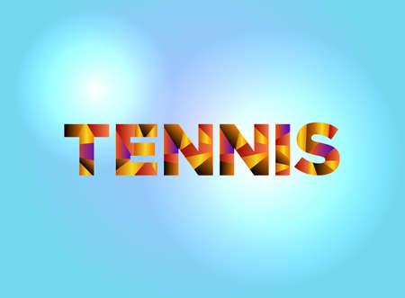 다채로운 조각난 된 word 작성 된 단어 테니스 개념은 밝은 배경 그림에 있습니다. 벡터 EPS 10 사용할 수 있습니다. 일러스트