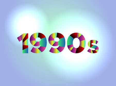 The word 1990s concept written in colorful fragmented word are on a bright background illustration. Vector EPS 10 available. Illustration