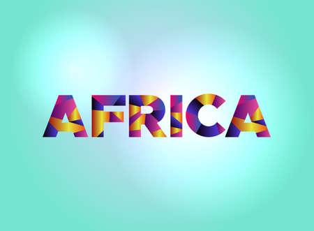 다채로운 조각난 된 word에서 작성 된 단어 아프리카 개념은 밝은 배경 그림에 있습니다. 벡터 EPS 10 사용할 수 있습니다. 일러스트
