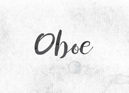 The word oboe concept and theme painted in black ink on a watercolor wash background.