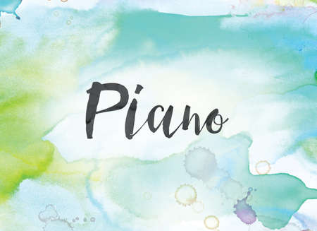 The word Piano concept and theme written in black ink on a colorful painted watercolor background.