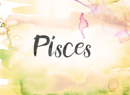 The word Pisces concept and theme written in black ink on a colorful painted watercolor background.