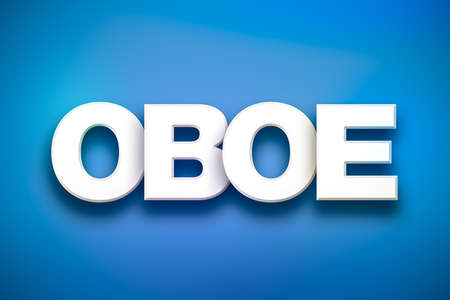 The word OBOE concept written in white type on a colorful background.