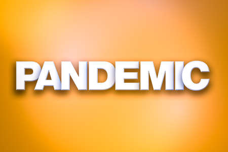 The word Pandemic concept written in white type on a colorful background. Stok Fotoğraf