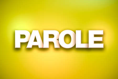 The word Parole concept written in white type on a colorful background. Stock Photo