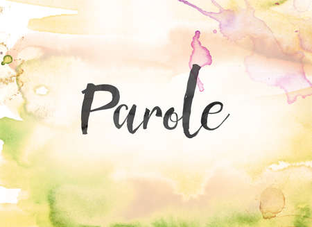 The word Parole concept and theme written in black ink on a colorful painted watercolor background. Stock Photo
