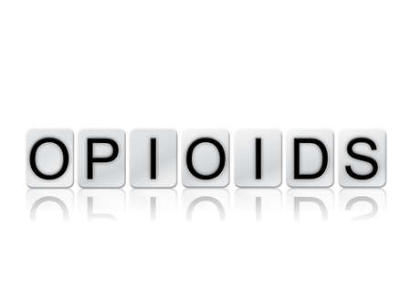 The word Opioids concept and theme written in white tiles and isolated on a white background. Zdjęcie Seryjne