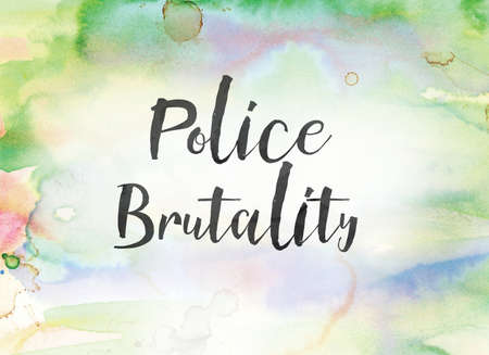 The words Police Brutality concept and theme written in black ink on a colorful painted watercolor background. Stock Photo