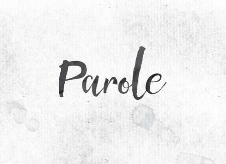 The word Parole concept and theme painted in black ink on a watercolor wash background.