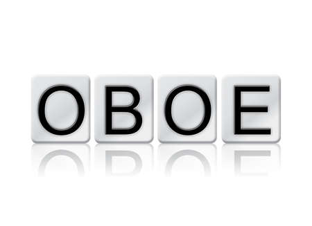The word OBOE concept and theme written in white tiles and isolated on a white background. Stock Photo