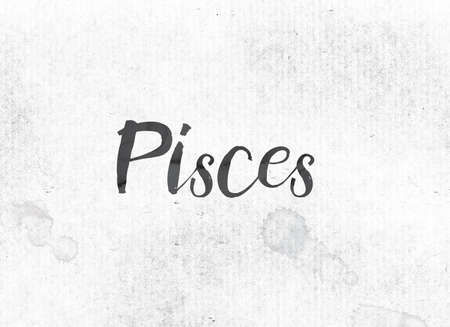 The word Pisces concept and theme painted in black ink on a watercolor wash background.
