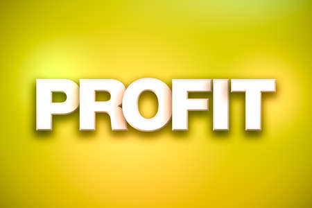 The word Profit concept written in white type on a colorful background.