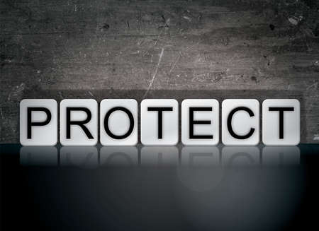 The word Protect concept and theme written in white tiles on a dark background.