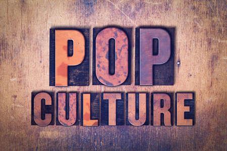 단어 팝 문화 개념 및 그런 지 배경에 빈티지 나무 활자 형식으로 작성 된 테마. 스톡 콘텐츠
