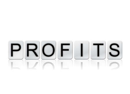 The word Profits concept and theme written in white tiles and isolated on a white background. Reklamní fotografie