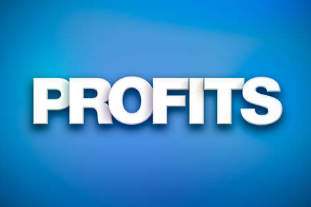The word Profits concept written in white type on a colorful background.