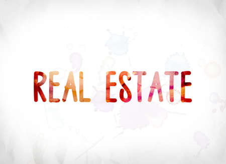 The word Real Estate concept and theme painted in colorful watercolors on a white paper background. Archivio Fotografico