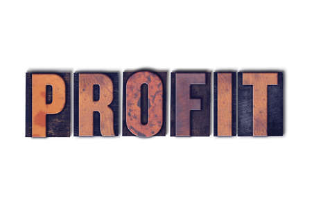 The word Profit concept and theme written in vintage wooden letterpress type on a white background.