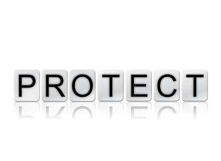 The word Protect concept and theme written in white tiles and isolated on a white background.