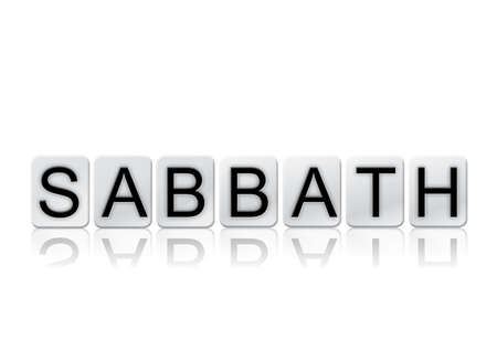 The word Sabbath concept and theme written in white tiles and isolated on a white background. Stock fotó