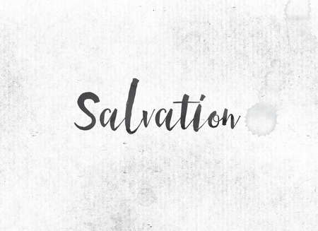 The word Salvation concept and theme painted in black ink on a watercolor wash background.