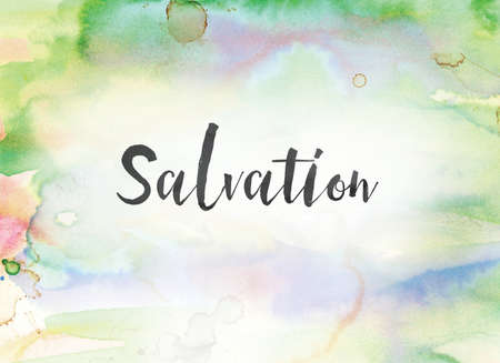 The word Salvation concept and theme written in black ink on a colorful painted watercolor background. Stock Photo