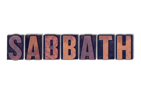 The word Sabbath concept and theme written in vintage wooden letterpress type on a white background. Stock fotó - 92392659