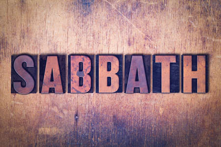 The word Sabbath concept and theme written in vintage wooden letterpress type on a grunge background. Фото со стока - 92392663