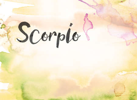 The word Scorpio concept and theme written in black ink on a colorful painted watercolor background.