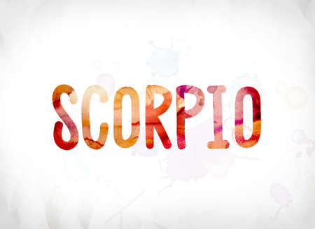 The word Scorpio concept and theme painted in colorful watercolors on a white paper background.