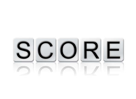 The word Score concept and theme written in white tiles and isolated on a white background.