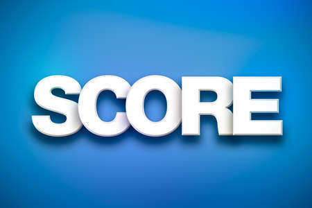 The word Score concept written in white type on a colorful background.