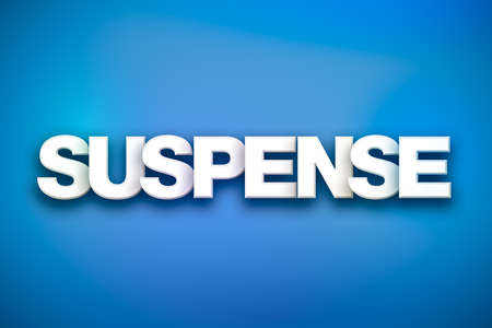 The word Suspense concept written in white type on a colorful background.