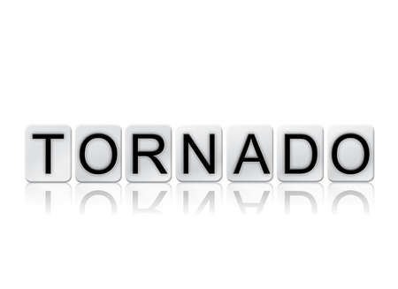 The word Tornado concept and theme written in white tiles and isolated on a white background.