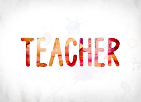 The word Teacher concept and theme painted in colorful watercolors on a white paper background. Stock Photo