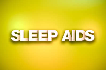 The words Sleep Aids concept written in white type on a colorful background.
