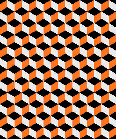 A repeating abstract pattern of orange and black cubes background illustration. Vector EPS 10 available.