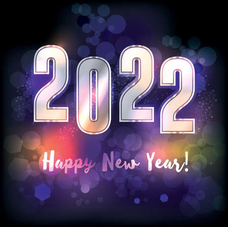A happy new year 2022 New Years message illustration. Vector EPS 10 available.