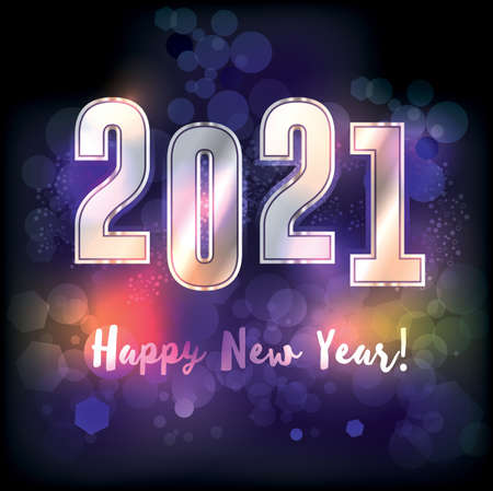 A happy new year 2021 New Years message illustration. Vector EPS 10 available.