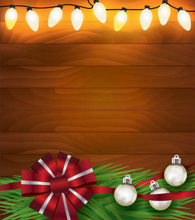 A set of glowing Christmas holiday lights and bow, ribbon, ornaments and garland on a wood background illustration. Vector EPS 10 available. Illustration