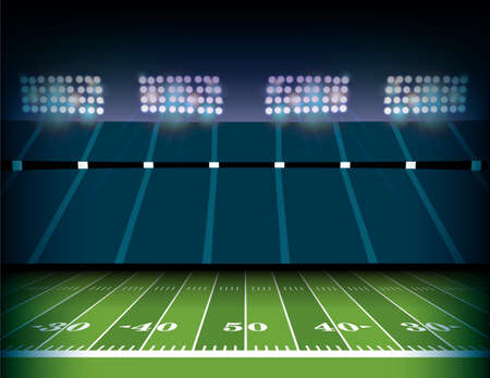 An American football field and stadium background illustration.