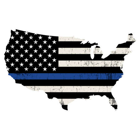 An isolated police support flag in the shape of the United States. Isolated on white illustration. Vettoriali