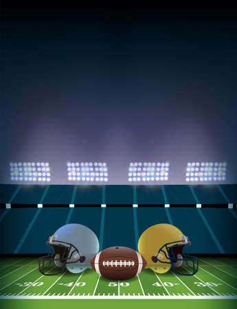 An American football stadium and field with helmets and ball illustration background.