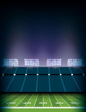 ライトの背景イラストを持つアメリカンフットボールフィールドとスタジアム。