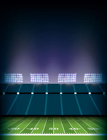 An American football field and stadium with lights background illustration.