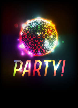 A party ball and word art template background illustration. Vector EPS 10 available.