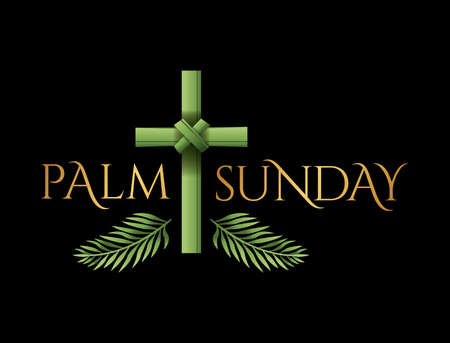 A Christian Palm Sunday religious holiday with palm branches and leaves and cross illustration. Vector is available.