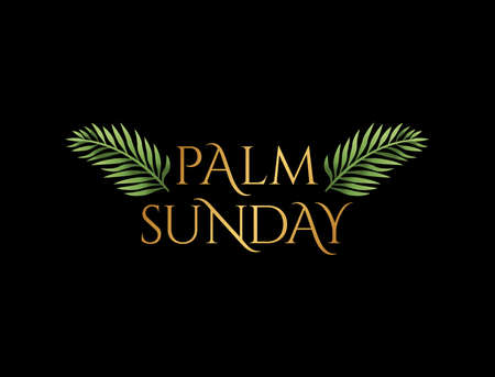 A Christian Palm Sunday religious holiday with palm branches and leaves illustration. Vector is available. 写真素材 - 92913005