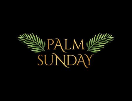 Chrześcijańska Niedziela Palmowa święto religijne z gałązkami palmowymi i liśćmi ilustracji. Wektor jest dostępny.